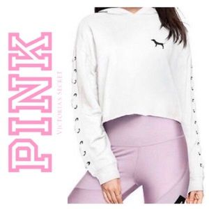Pink VS Cropped Lace Up Pullover Hoodie Large New